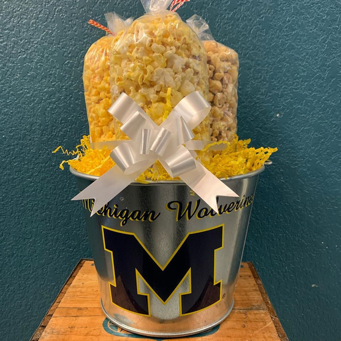 University of Michigan Wolverines Bucket with Butter, Cheese & Caramel