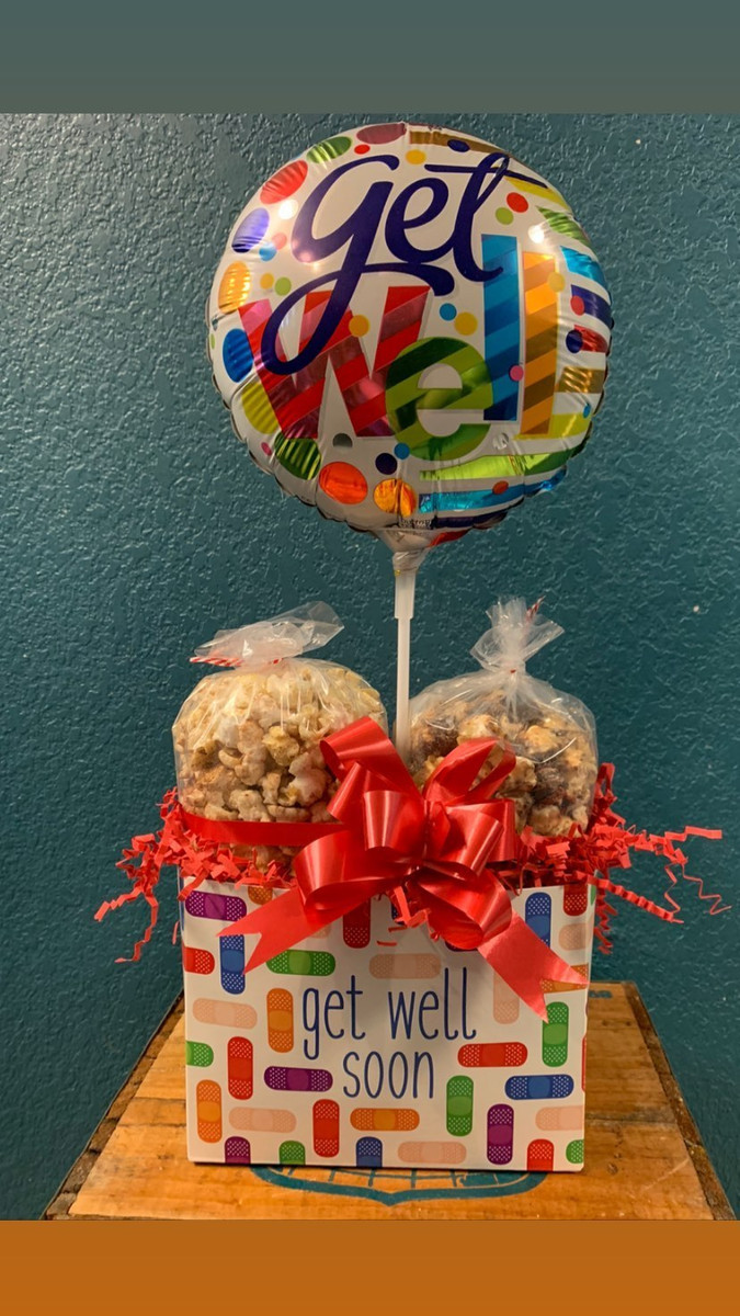 Get Well Box w/Kettle & Caramel with Balloon
