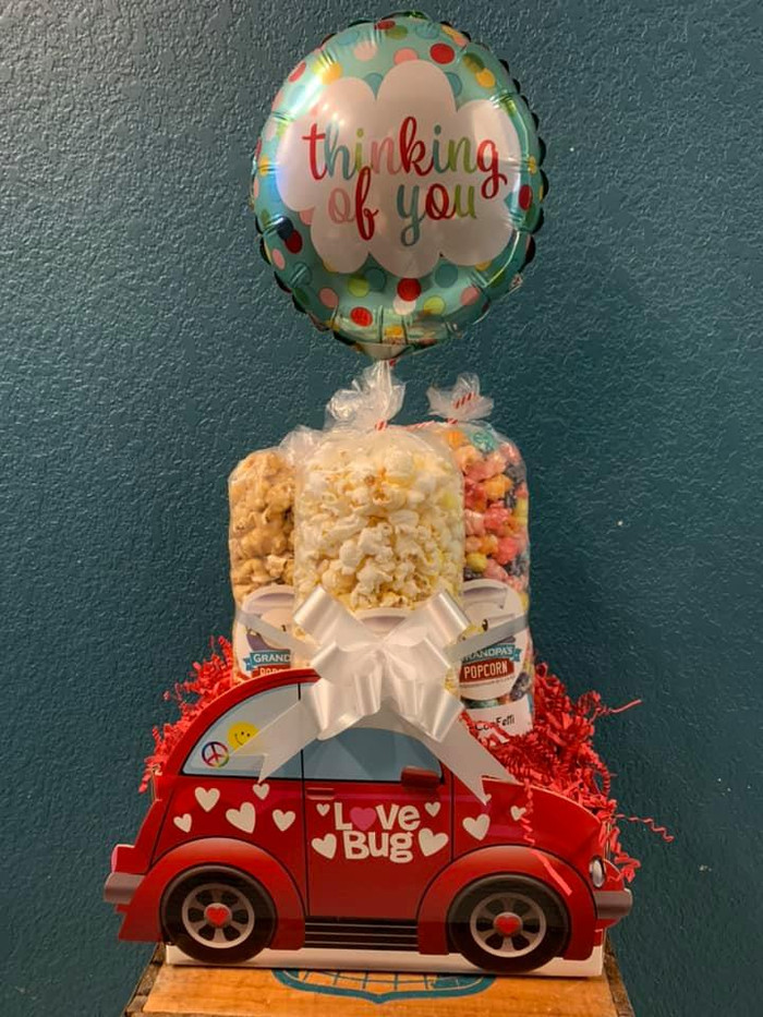 Love Bug Box w/white Cheddar, Caramel & Confetti with thinking of you balloon