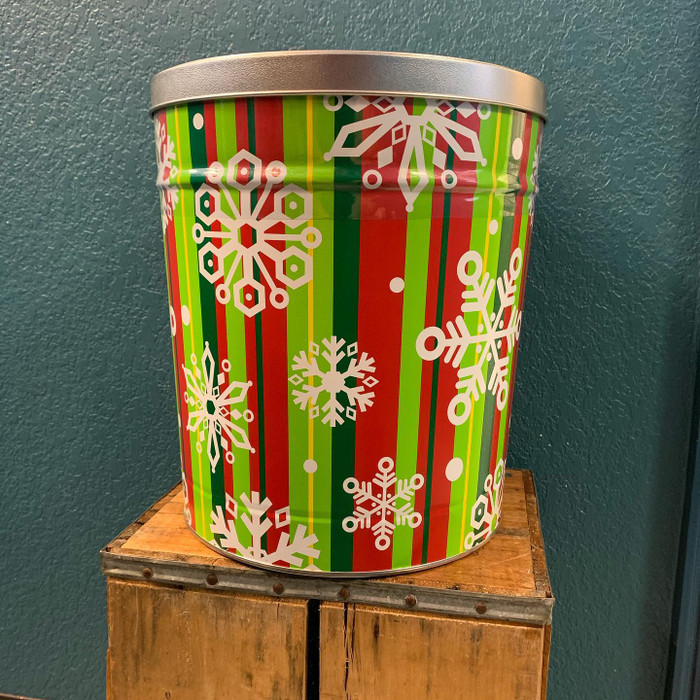 Christmas Snow Flake Stripe 3.5 Gallon Popcorn Tins