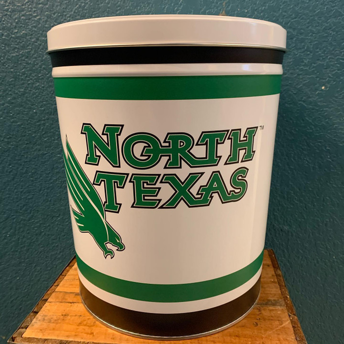 North Texas University 3 Gallon Popcorn Tin