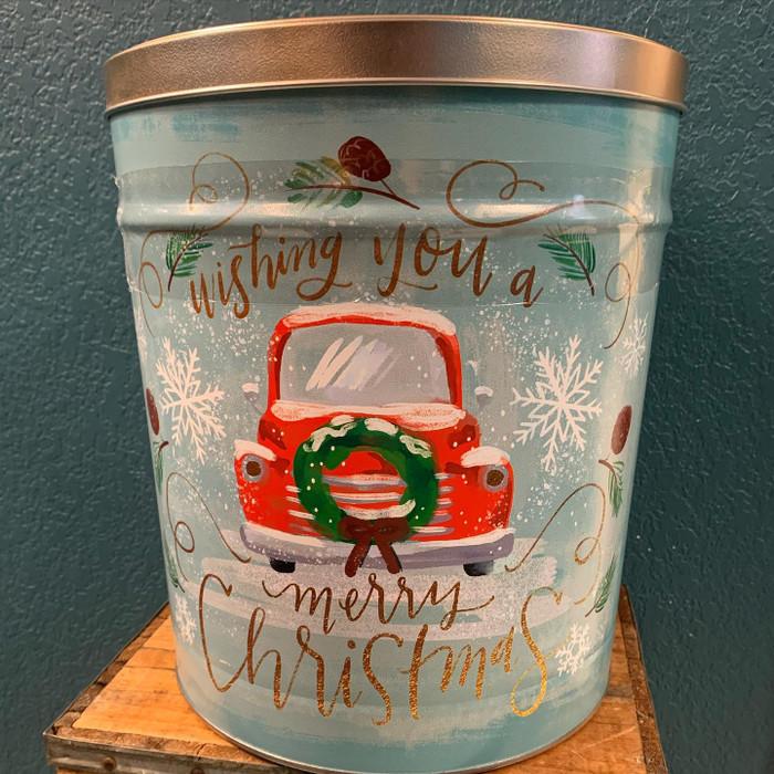 Whishing you a Merry Christmas 3.5 Gallon Popcorn Tin