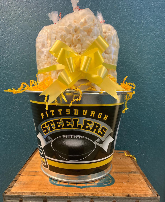 Pittsburgh Steelers Bucket with a Small Cheese, Butter, & Caramel Bag of Popcorn