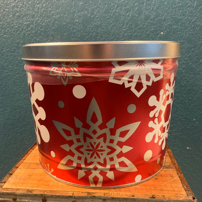 Christmas Snow Flake 2 Gallon Popcorn Tin