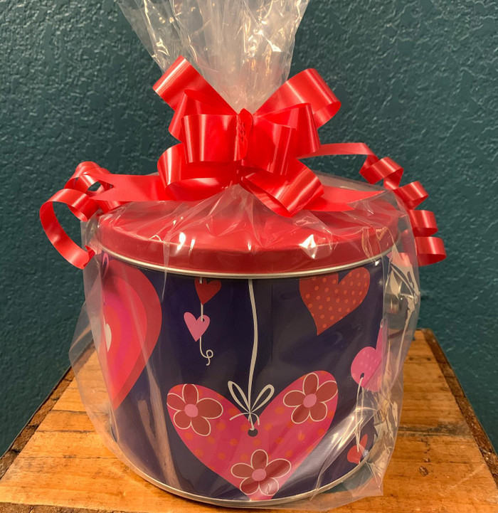 Valentine Bucket Filled with Zebra Popcorn