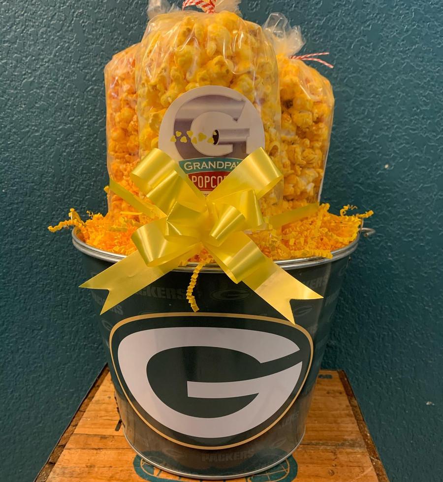 Green Bay Packers Popcorn Bucket w/ Cheese, Extra Cheesy, & Cheesy Ranch