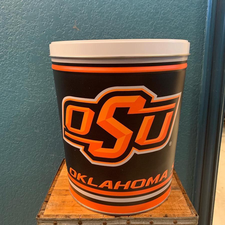 Oklahoma State 3 Gallon Popcorn Tin