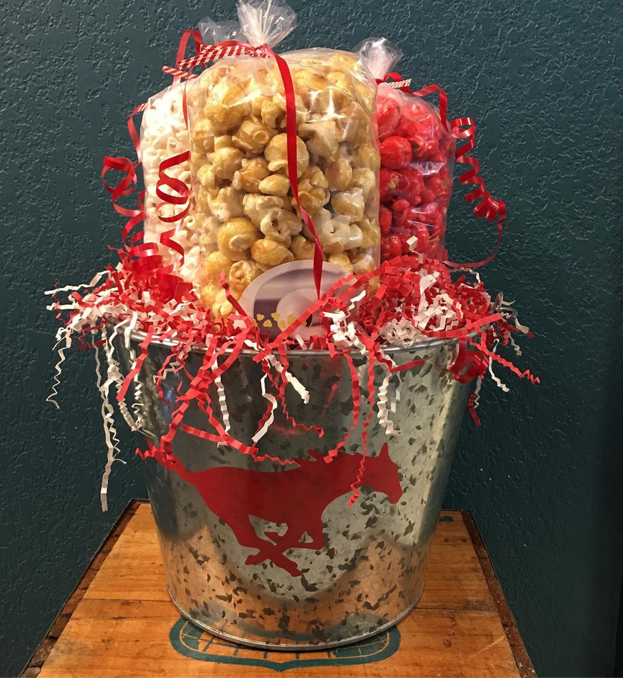 Grapevine Mustangs Bucket  w/Caramel/Kettle/Cherry Popcorn