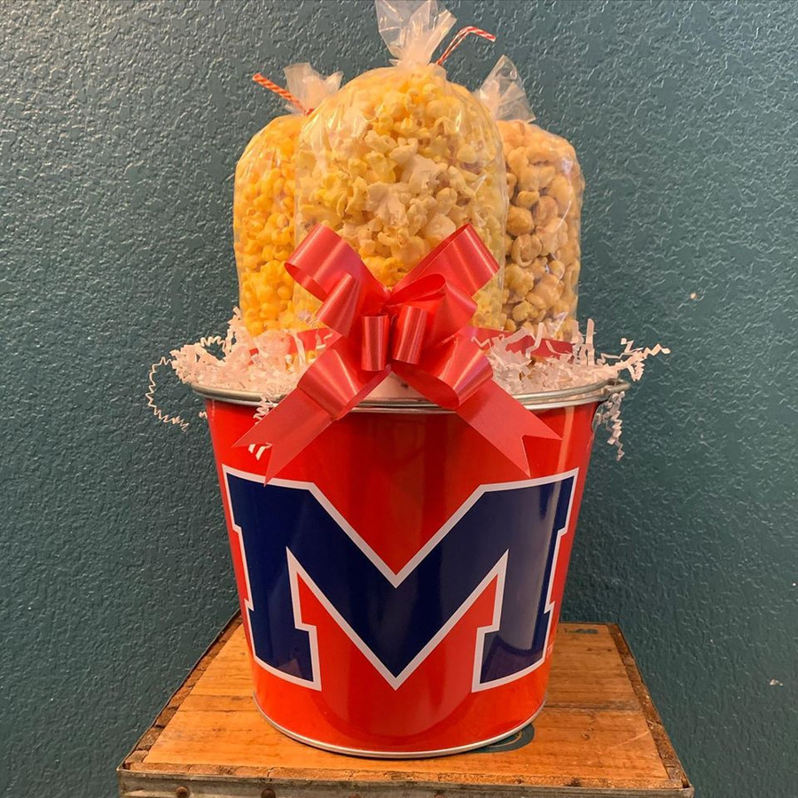Univeristy Mississippi Bucket with Butter, Cheese & Caramel