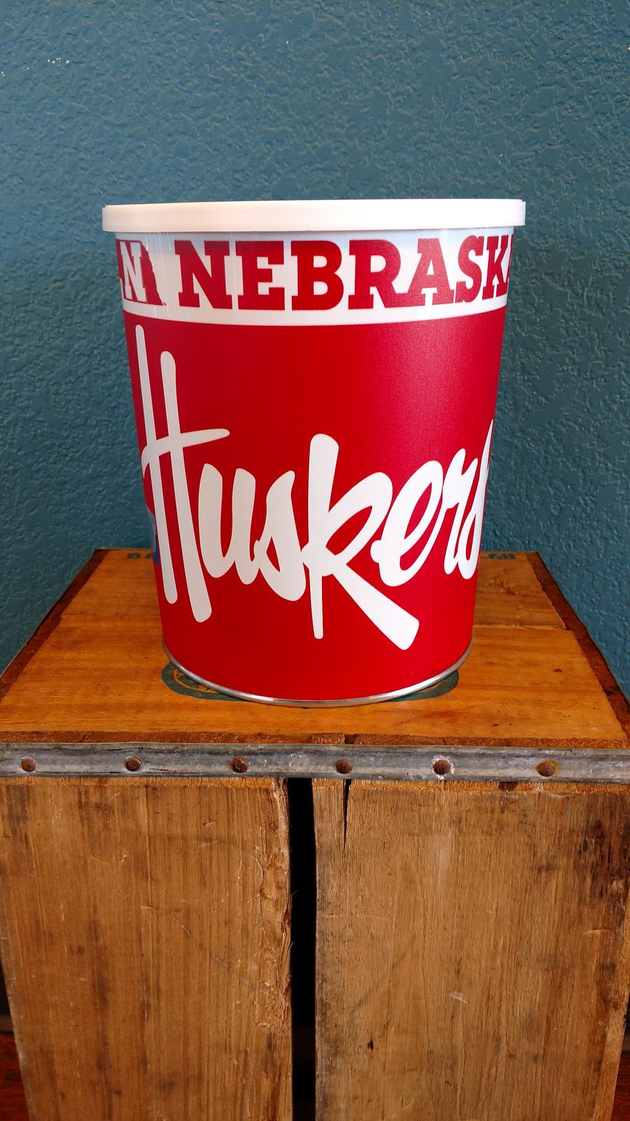 Nebraska Cornhuskers One Gallon Popcorn Tin
