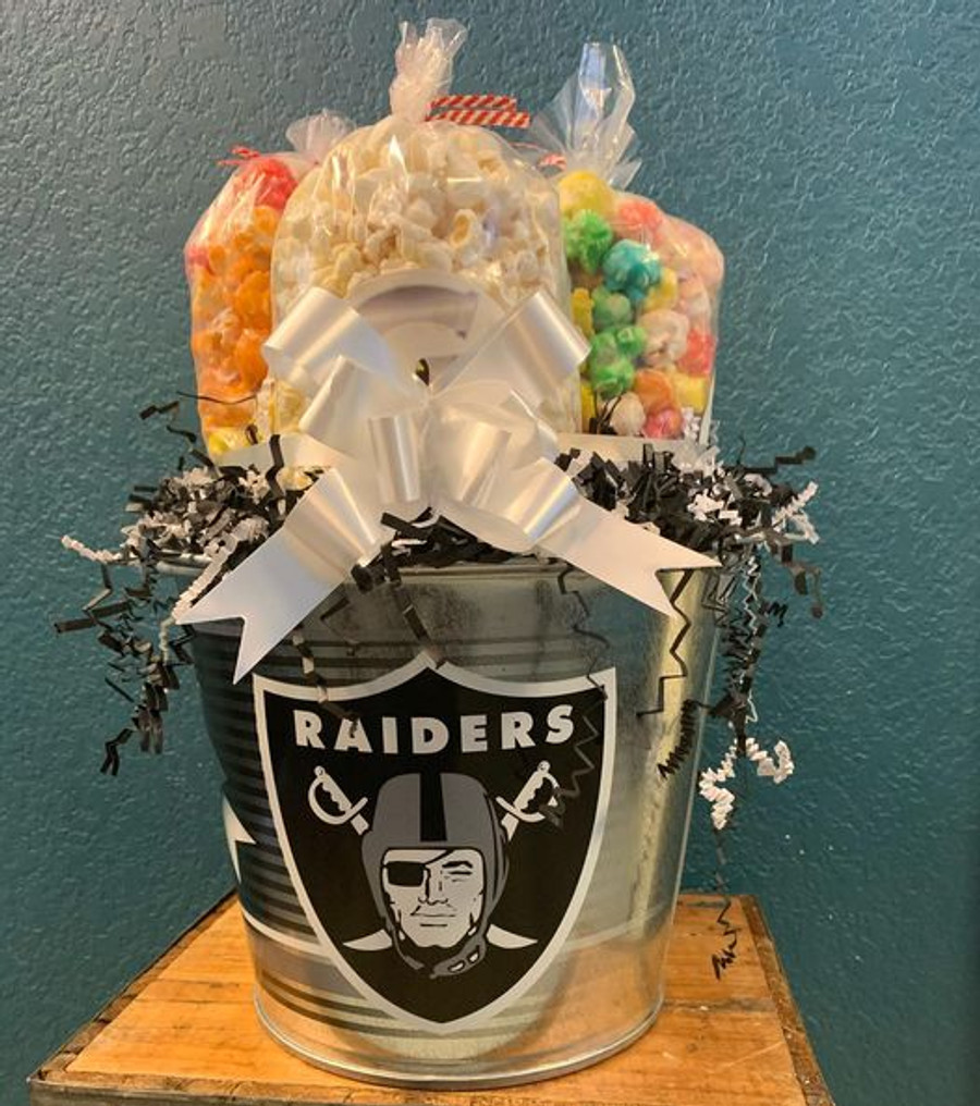 Oakland Raiders Popcorn Bucket with Butter, Caramel & Cheese