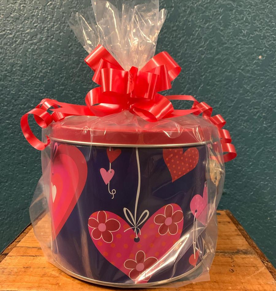 Valentine Bucket Filled with Zebra Popcorn