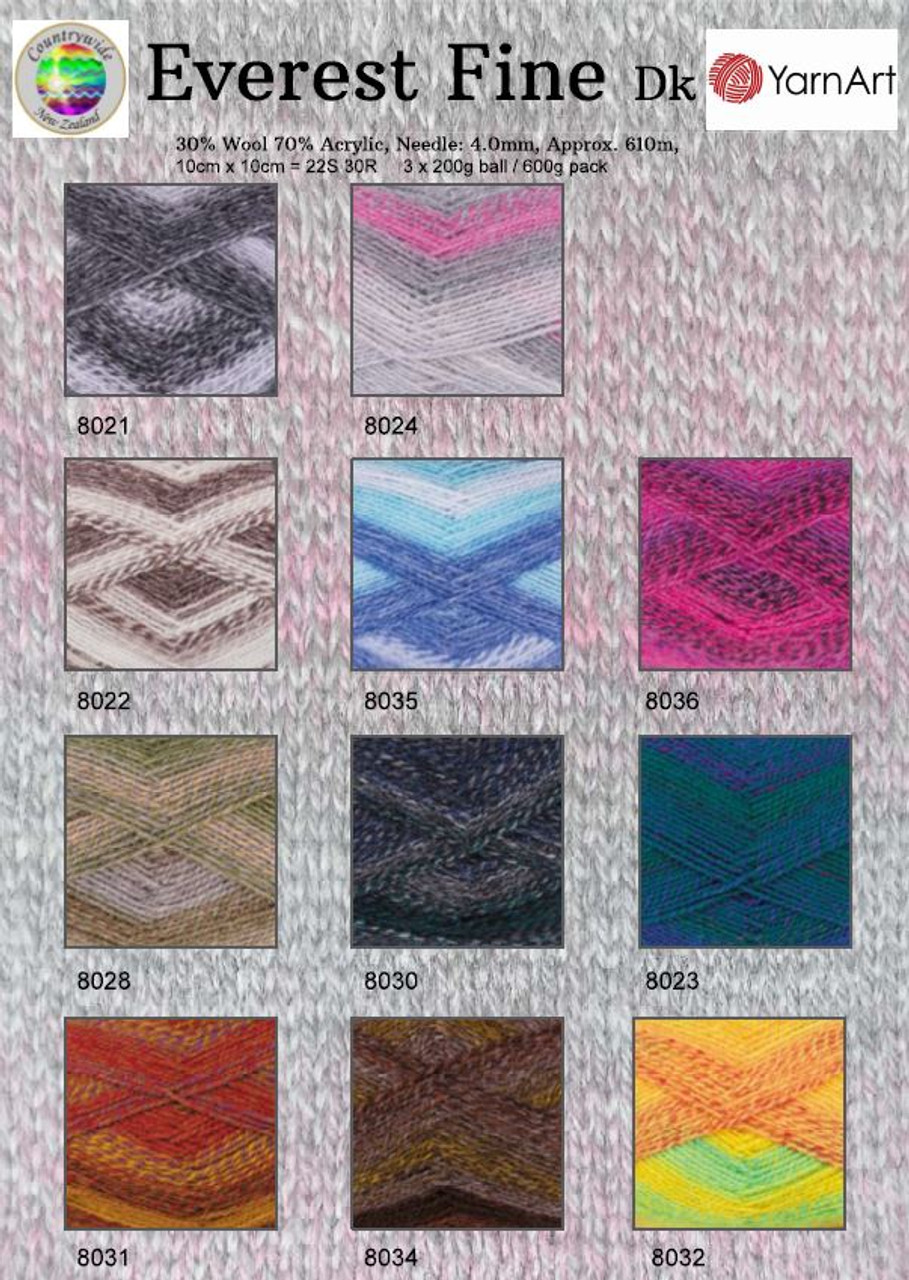 Everest Fine 8ply Wool Blend 200gm Shade Chart
