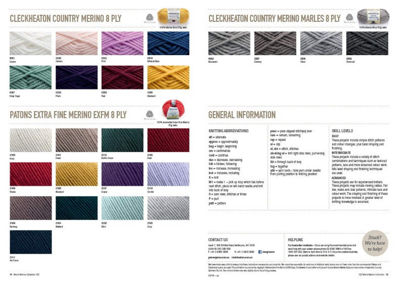 102 Mens Merino Collection shade charts
