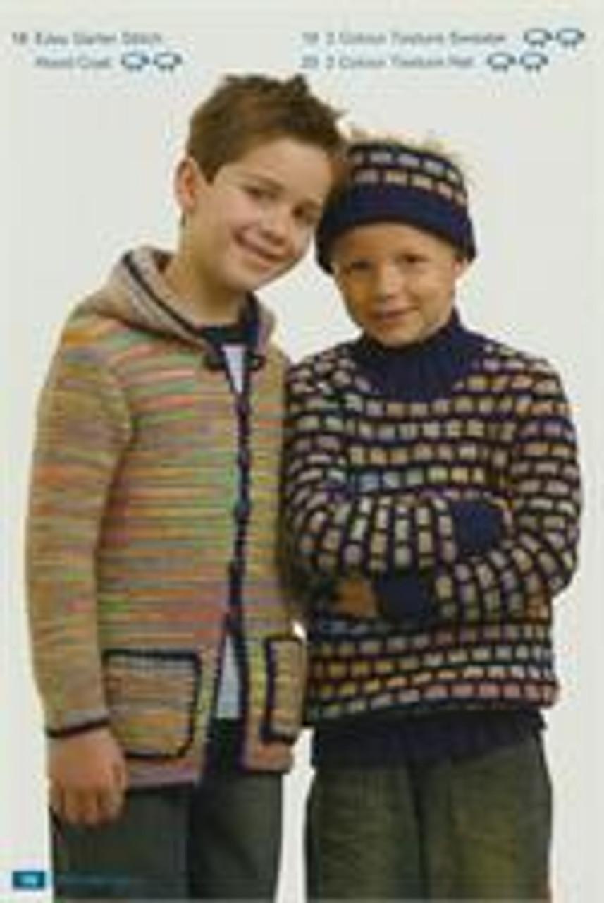 Moda book issue 5 designs 18 19 20 garter stitch hooded jacket jumper hat