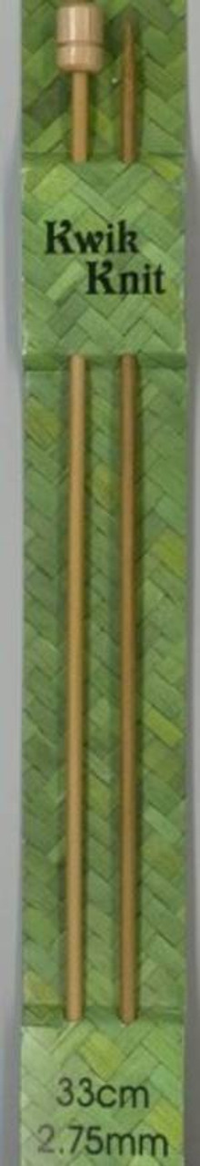 Knitting Needles Bamboo 33cm length - 2.75mm only available