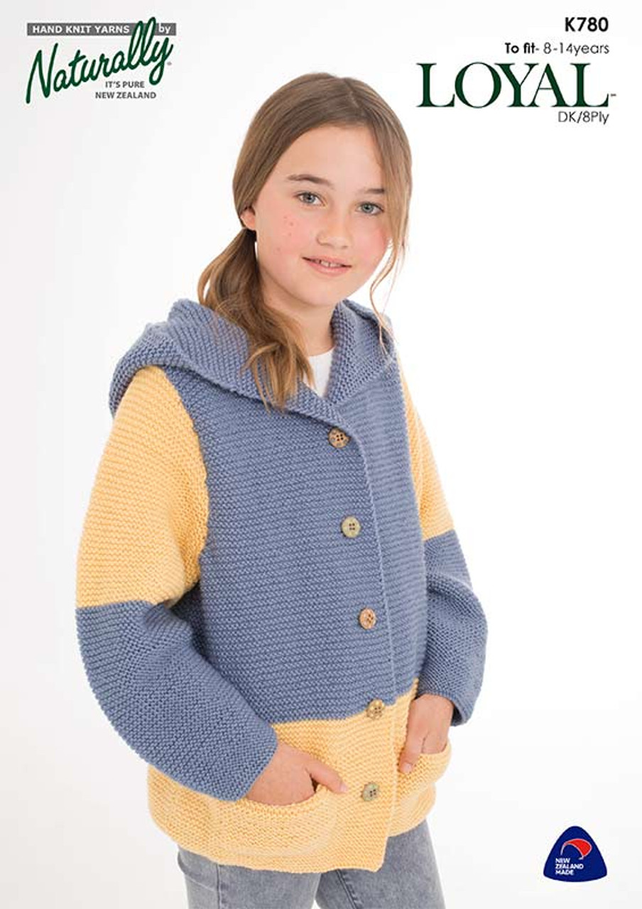 K780 Loyal 8ply Garter-stitch Jacket 8 - 14 years