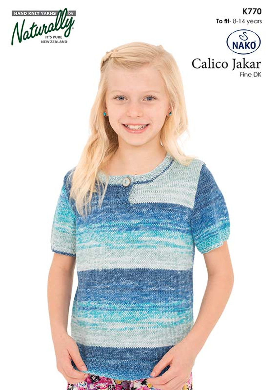 K770 Calico Cotton 8ply Short-sleeved top 8 - 14 years