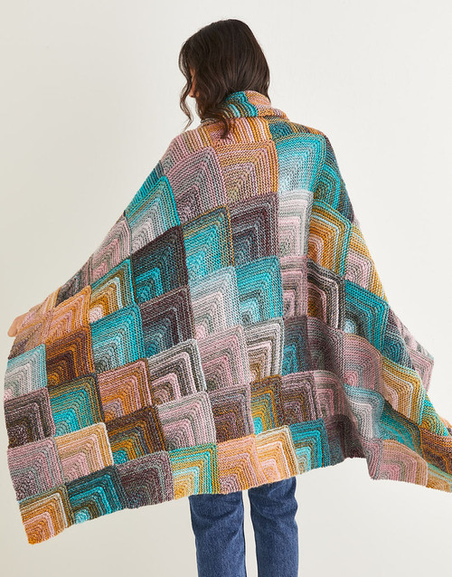 10142 'Magic Square' Blanket 96cm x 144cm/any size - in Jewelspun 10ply