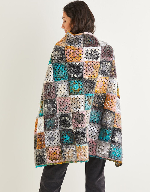 10144 Crochet Squares Blanket 83cm x 113cm/any size in Jewelspun 10ply