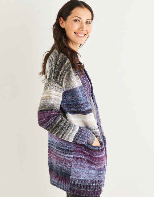 """10138 Cardi-Jacket with pockets Sizes 32"""" to 54"""" in Jewelspun 10ply"""