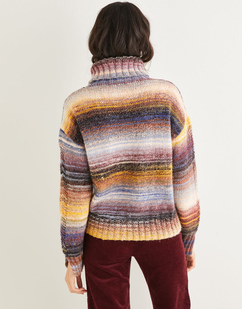 """10139 Sweater with Roll Collar Sizes 32"""" to 54"""" in Jewelspun 10ply"""