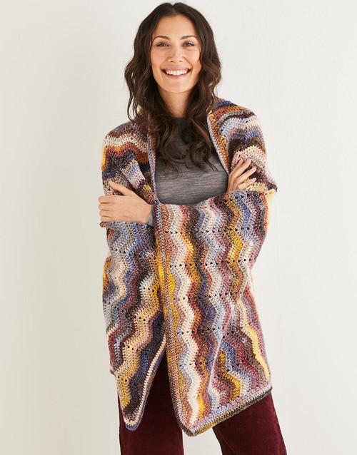 10143 Crochet Chevron Blanket 81cm x 125cm & Cushion in Jewelspun 10ply