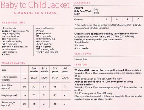 2029 Kids basket stitch yoked Jacket in 8ply age 2 to 10