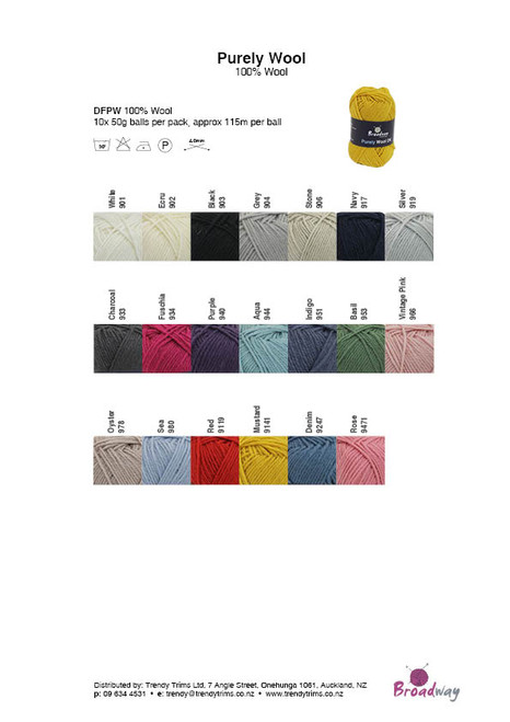 Broadway Purely Wool 8ply 50gm Colour Chart