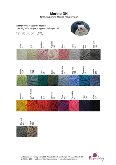 Broadway Merino DK 8ply 50gm Colour Chart