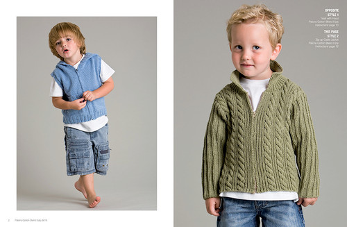 8016 Play Days 8 ply hooded vest and cabled jacket