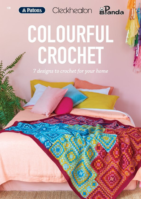 Book 108 Colourful design 3 granny square throw