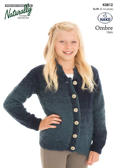 K812 Ombre 12 ply Cardigan 8 to 14 Years