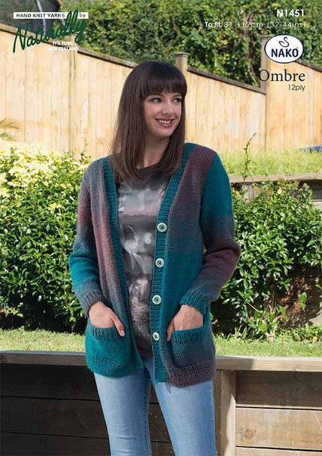 N1451 Ombre 12ply Long Cardigan with pockets