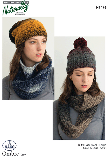 N1496 Ombre 12ply Cowl, Scarf, Beanie & Slouch hat Adult S-L