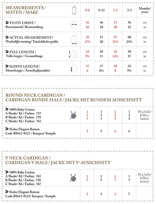 6762 DMC Stripe cardigans raglan 0 to 3 years Measurements