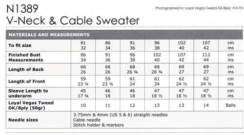 N1389 Loyal Tweed 8ply Cable detail V-neck Jumper