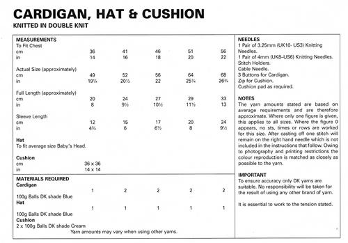 "UKHKA200 Raglan Sleeve Cardigan & Hat 14"" to 22"" in 8ply garter stitch & pattern rib"