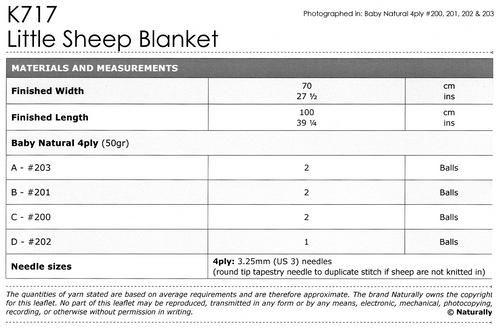 K717 Natural 4ply NZ Sheep Baby Blanket