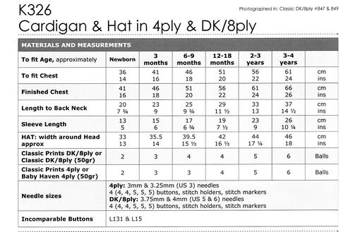 K326 Textured Cardigan & Hat 4ply 8ply newborn to 4 years