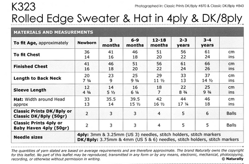 K323 Easy Knit Jumper & Hat 4ply 8ply newborn to 4 years