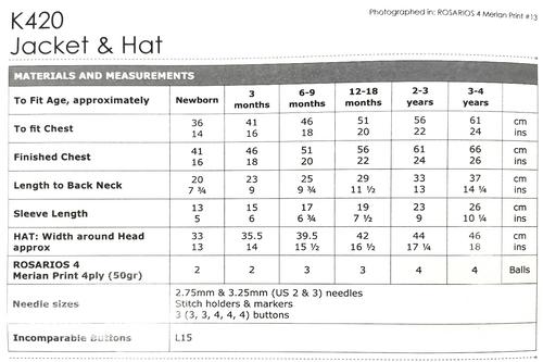 K420 Merian Print 4ply Jacket-Cardi & Hat 0-4 years