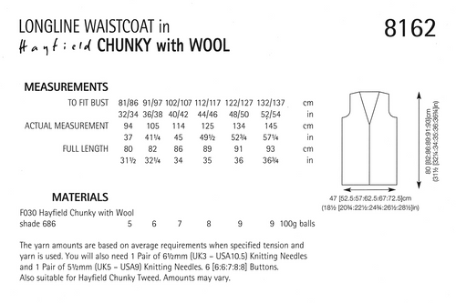"""8162 Hayfield Chunky Ladies long-line vest in 14ply for 32"""" to 54"""""""