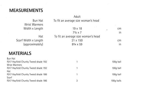 8023 Hayfield Tweed Ladies hat, mitts, scarf & head warmer in 14ply