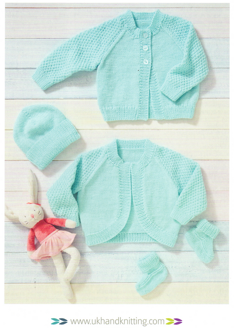 """UKHKA223 Bolero, Cardigan, Booties & Hat 14"""" to 22"""" in 8ply with sleeve detail"""