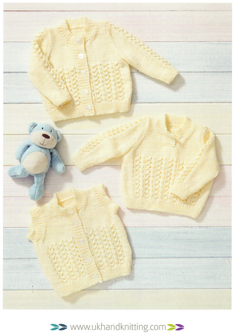 """UKHKA222 Cardigan, Waistcoat & Sweater 14"""" to 22"""" in 8ply lace panel detail"""