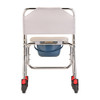 Rolling Shower Chair and Commode rear view with locking casters