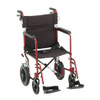 Nova Model 330 Transport Chair with hand brakes - Red