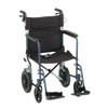 Nova Model 330 Transport Chair with hand brakes - Blue