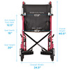 Nova Model 330 Transport Chair with hand brakes - Front View Specifications